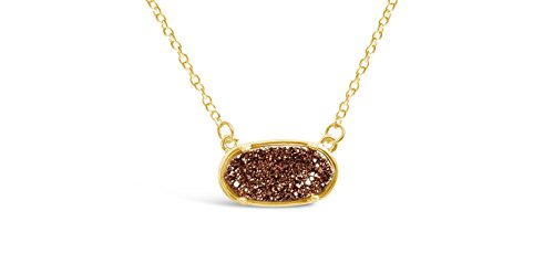 Ellena Rose Dainty Drusy Necklace - 14k Gold Plated Oval Druzy Pendant Necklace For Women (Rose Brown (Brown Rose Pendant)
