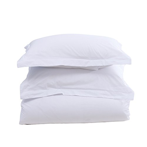 Colourful Snail 400-Thread-Count 100-Percent Cotton Duvet Cover Set, Includes Duvet Cover and 2 Matching Pillow Shams, Queen/Full, White