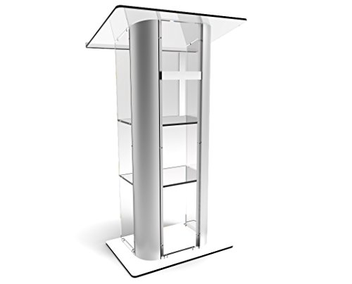FixtureDisplays Clear Acrylic Plexiglass Lucite Podium Curved Brushed Stainless Steel Sides Pulpit Lectern With Cross (Steel Lectern)