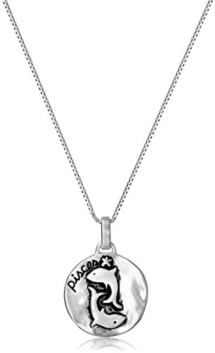 Sterling Silver Zodiac Sign, Pisces Reversible Pendant Necklace, 18