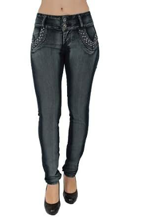 Plus Size Brazilian Butt Lifting Jeans Colombian Style By Diamante DJ9-F199BLU (18)