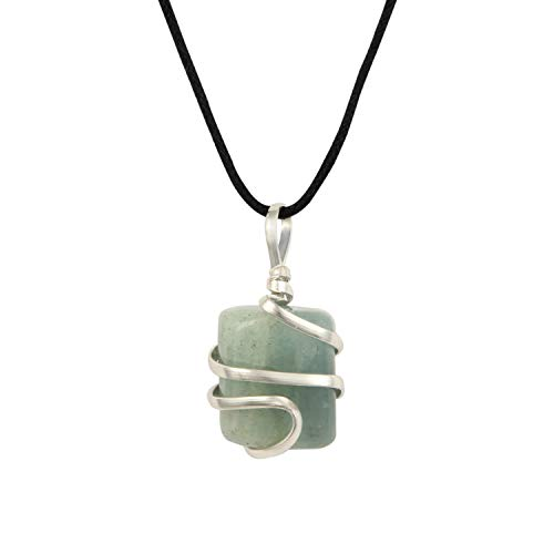 Aquamarine Gemstone Pendant Necklace - Natural Crystal Healing | Stone of Courage | Throat Chakra & Communication Aid | Calming & Soothing Energy to Relax and Reduce Stress | Jewelry for Men & Women ()