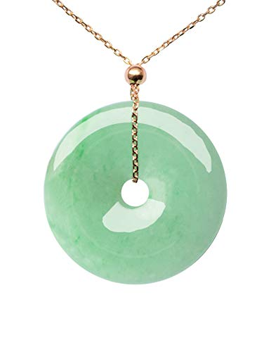 Dahlia Coin Jade Pendant Rose Gold Plated Silver Necklace Certified Grade A Jadeite, 14-18