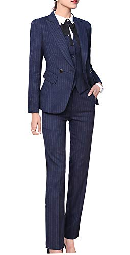 Women's Three Pieces Office Lady Blazer Business Suit Set Women Suits for Work Skirt/Pant,Vest and Jacket (Navy Blue, 2XL)
