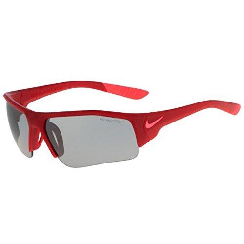 Nike Golf Skylon Ace XV Junior Sunglasses, Matte Gym Red/Bright Crimson Frame, Grey with Silver Flash (Frame Crimson Red Lens)