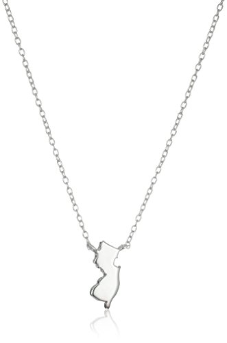 (Sterling Silver Stationed Mini State New Jersey Pendant Necklace, 17