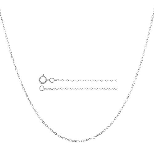 Rolo 14k (14K Solid Gold 0.85mm Diamond Cut Rolo Link Chain Necklace- Spring Ring Clasp-Multiple colors Available (White, 18))