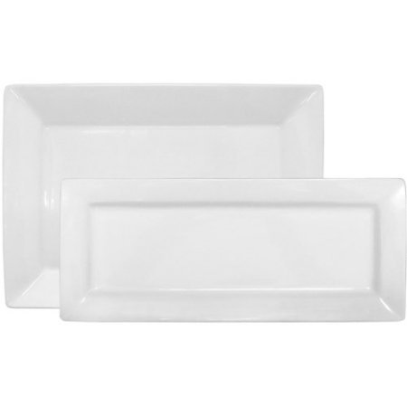 Porcelain, Durable, Microwave-Safe 2-Piece Rectangular Platter Set, White