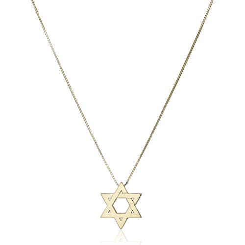 14k Yellow Gold Floating Star of David Pendant Necklace, -