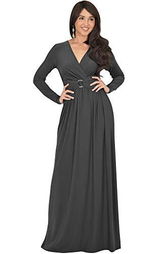 KOH KOH Womens Long Sleeve V-Neck Floor Full Length Elegant Casual Evening Semi Formal Fall Winter Modest Maternity Dressy Gown Gowns Maxi Dress Dresses, Dark Gray Grey M 8-10