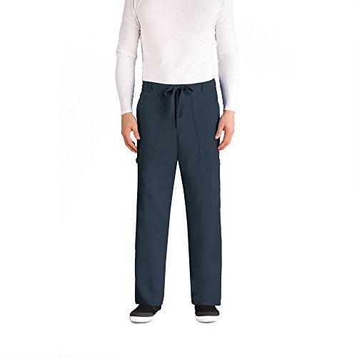 Greys Anatomy Signature Mens Big 6 Pocket Zip Fly Drawstring Scrub Pant  Steel  Xxx Large