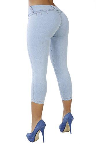 Curvify 764 Women's Butt-Lifting Skinny Jeans | High-Rise Waist, Brazilian Style (764, CropSkyBlue, 13) Back Zip Capri Jeans
