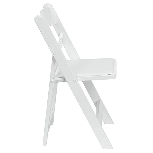(50 PACK) Commercial Quality White Wood Folding Chair with Vinyl Padded Seat - Wedding Folding Chair