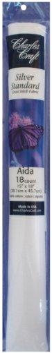 DMC TC8836-6750 Silver Label Aida 18 Count 15x18-Inches Soft Tube, White