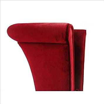 Armen Living LC847SIRE Mad Hatter Dining Chair in Red Velvet and Black Wood Finish