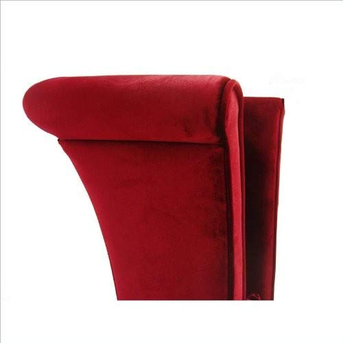 Armen Living Mad Hatter Dining Chair in Red Velvet and Black Wood Finish
