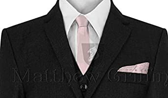 Boys Plain Tie Smart Fromal Neck Tie For Boys Various Colours. Fine Satin Shine With pocket square Boys Formal Ties Boys neck tie