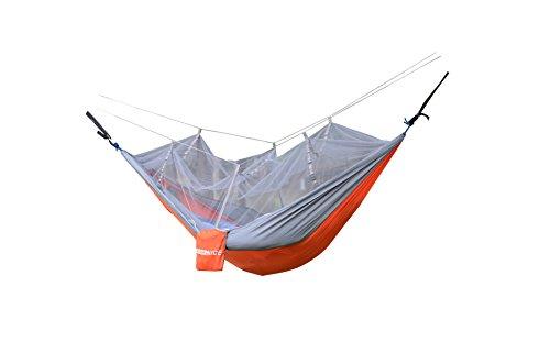 WoneNice Portable Nylon Fabric Travel Camping Hammock with Mosquito Net 8.53 x 4.6 ft + tree straps ()