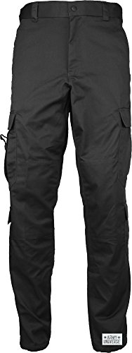 Army Universe Black Uniform 9 Pocket Cargo Pants, Poly Cotton Work Pants for EMT EMS Police Security with Pin - (W 23-27 - I 29.5-32.5) X-Small
