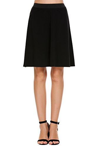 Chigant Basic Solid High Waist A-line Flared Skater Mini (Black A-line Skirt)