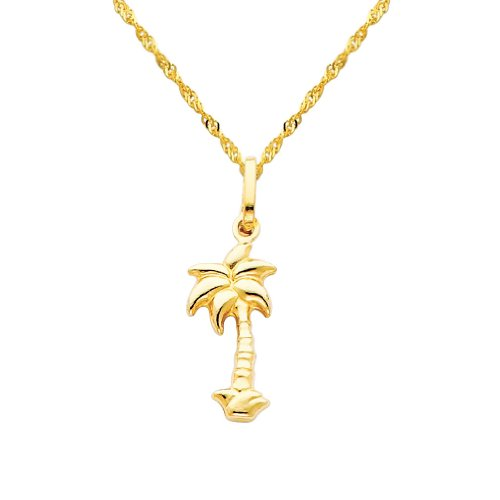 14k Gold Palm Tree Charm - Wellingsale 14k Yellow Gold Polished Palm Tree Charm Pendant with 1.2mm Singapore Chain Necklace - 18
