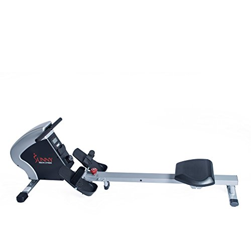 Sunny Health & Fitness Magnetic Rowing Machine Rower, LCD Monitor Tablet Holder – Synergy Power Motion – SF-RW5801