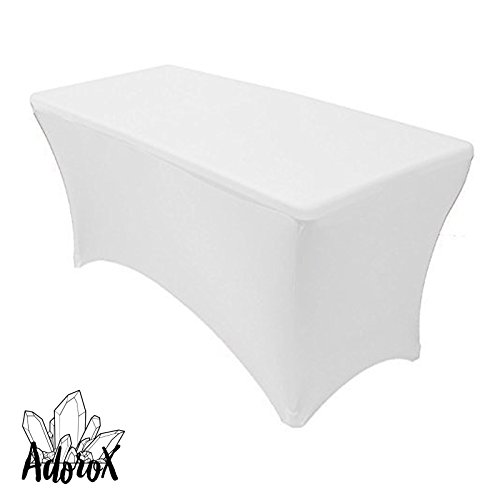 Adorox (2 Pcs 4 ft White) Stretch Fabric Spandex Tight Fit Table Cloth Cover by Adorox