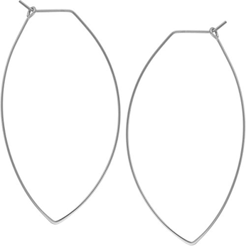 Marquise Leaf - Marquise Threader Big Hoop Earrings - Lightweight Oval Leaf Statement Drop Dangles, Marquise 925 White, Sterling Silver-Electroplated, Hypoallergenic, by Humble Chic NY