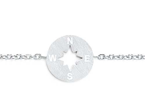 Rosa Vila Compass Bracelet - Direction of Life & I'd Be Lost Without You (Silver Tone)