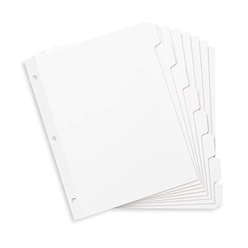 Blue Summit Supplies 3 Ring Binder Dividers with Reinforced Edge, 1/8 Cut Tabs, Letter Size, 3 Hole Punch Section Index Dividers for Binders, White, 96 Pack