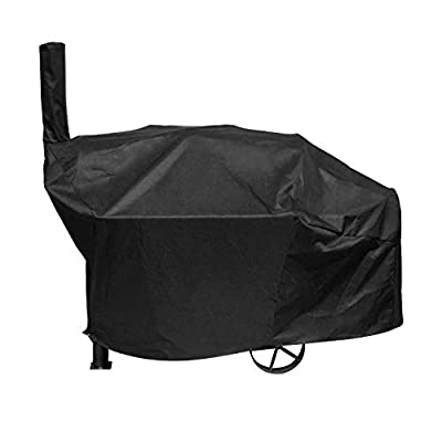 SunPatio Outdoor Charcoal Grill Offset Smoker Cover, Heavy Duty Waterproof Barrel Smoker Cover, UV Resistant Barbecue Cover, Weather Protection for Brinkmann Trailmaster, Char-Broil, Dyna-Glo, Black