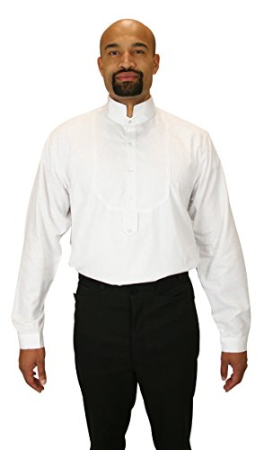 Pirate Clothing History (Historical Emporium Men's Victorian Collar Stud/Cufflink Convertible Dress Shirt S)