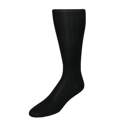 Cotton Silk Trousers - Windsor Collection Men's Cotton Over the Calf Dress Trouser Socks, Black