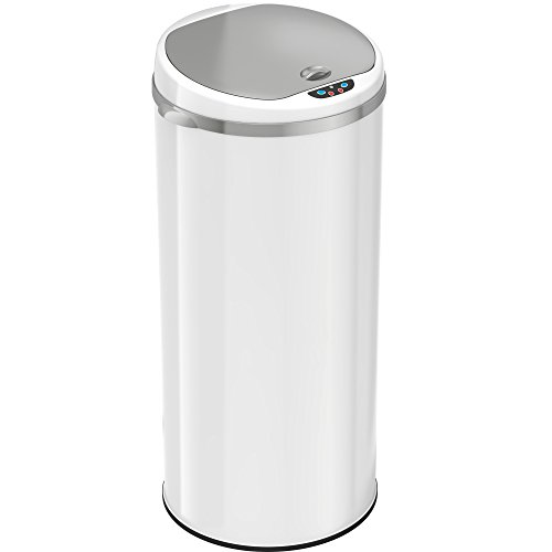 iTouchless 13 Gallon Automatic Trash Can with Odor Control System – White – Round – 49 Liter Kitchen Trash Bin