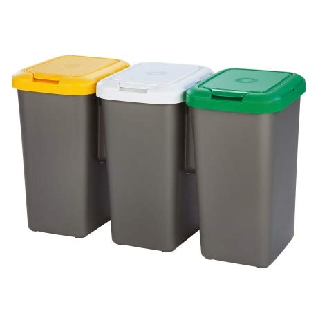 TONTARELLI – 75L ATTACHED RECYCLE RECYCLING PLASTIC WASTE BINS KITCHEN HOME  OFFICE