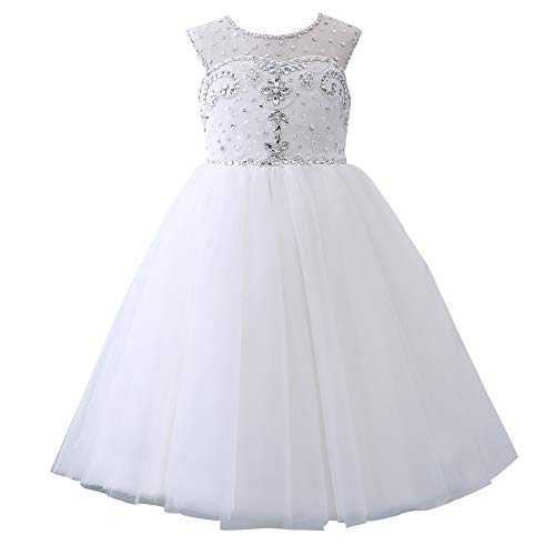 Castle Fairy Princess Girl Ball Gowns Sweetheart Beading Long Flower Girls Pageant Dresses (10, White)