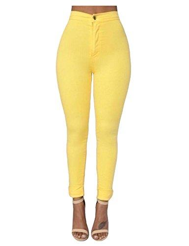 Legou Femme Collant Slim Legging Basique Taille haute Jaune X-Small