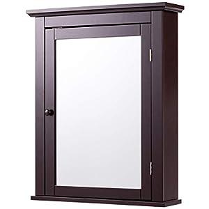 Tangkula Mirrored Bathroom Cabinet Wall Mount Storage Organizer Medicine Cabinet with Single Doors