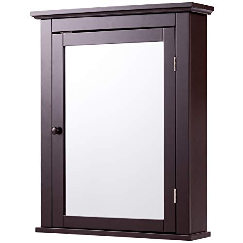 Tangkula Bathroom Cabinet, Mirrored Wall-Mounted Storage Medicine Cabinet, Cabinet with Single Door - Mirrors Java Bathroom