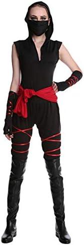 AniKigu Traje de Ninja para Mujer Negro Assassin Jumpsuit Carnaval ...