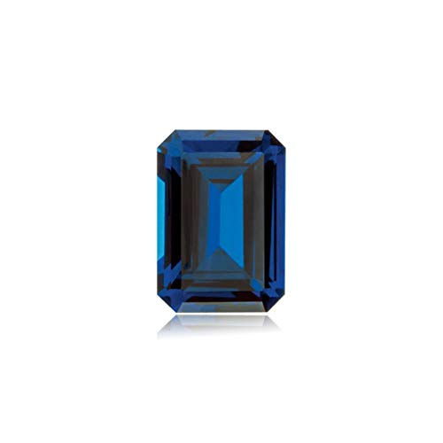 9.94-12.14 Cts of 14x10 mm AAA Emerald Cut Swiss Made Rough Synthetic Blue Sapphire (1 pc) Loose Gemstone