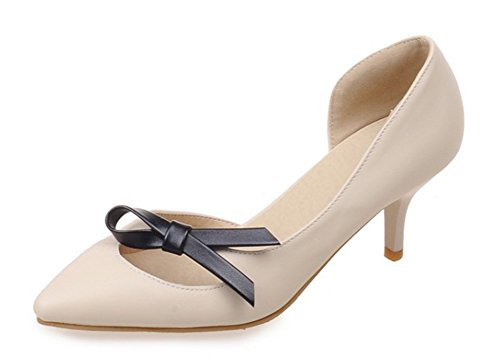 Heels Dress Toe Pumps Pointed Aisun Beige Sweet Shoes Stiletto Womens Kitten Bowknots DOrsay On Slip wqa7pX1x8