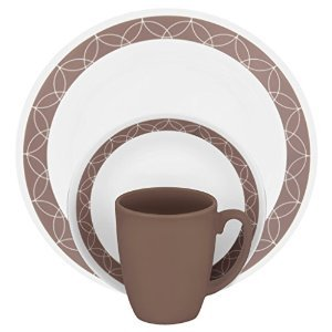 16 Piece Tan Dinnerware Set (Premium Professional Quality Corelle Livingware 16-Piece Service for 4-Dinnerware Set Sand Sketch Tan)