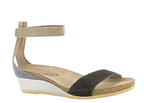 NAOT Footwear Women's Pixie Wedge Sandal Oily Black Suede/Vintage Slate Lthr/Khaki Beige Lthr 10 M US ()