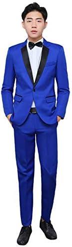 スーツ メンス ビジネススーツ 上下セット ジャケット パンツ ネイビー スリム 演出服 ステージ衣装 メンズ 舞台 ビジネス カジュアル 着心地抜群 パーティー 演奏会 フォーマル 結婚式 就職スーツ 司会者 セットアップ (ブルー, S)