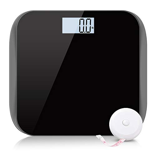 (Digital Body Weight Bathroom Scale Weighing Scale with Body Tape Measure, Large Backlit LCD Display, Step-On Technology, Tempered Glass, 400 lb, Black)