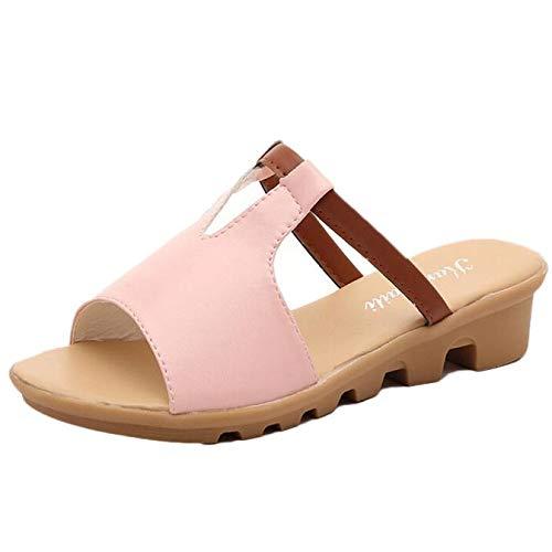 QBQCBB Fashion Summer Sandals Slipper Indoor Outdoor Flip-Flops Beach Shoes(Pink,36)
