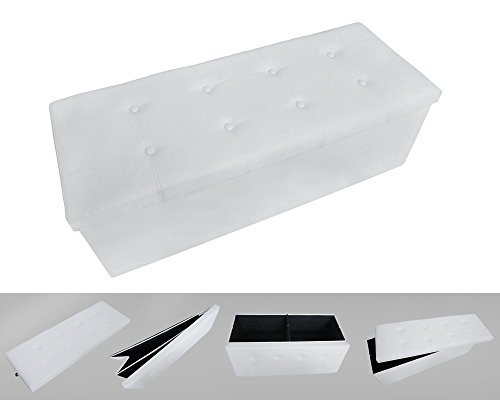 Todeco - Almacenamiento Banco, Almacenamiento Otomano Plegable de Cuero - Carga maxima: 150 kg - Material: Imitacion de Cuero - Acabado Cosido y copetudo, 110 x 38 x 38 cm, Blanco