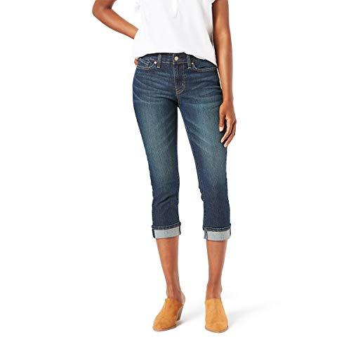 Signature by Levi Strauss & Co Women's Mid-Rise Slim Fit Capris, Blue Laguna, 16 (Womens Levi Crop Jeans)