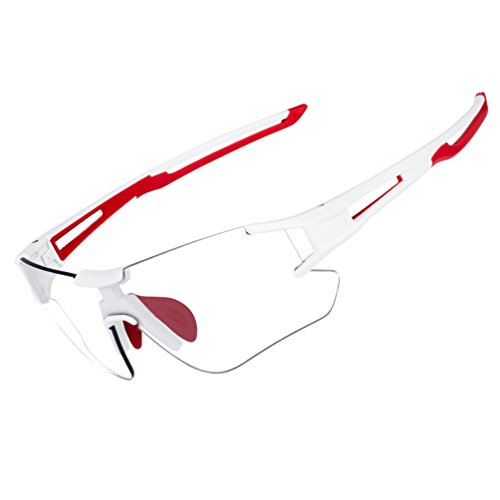 RockBros Cycling Sunglasses Photochromic Bike Glasses for Men Women Sports Goggles UV Protection White Red (Multi Lens Biking Glases)